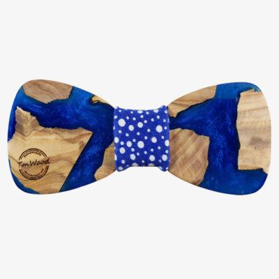 παπιγιόν γαλάζιο με ρητίνη και ξύλο