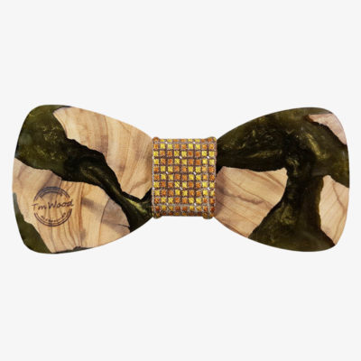 Wooden bow tie from olive wood and dark gold resin