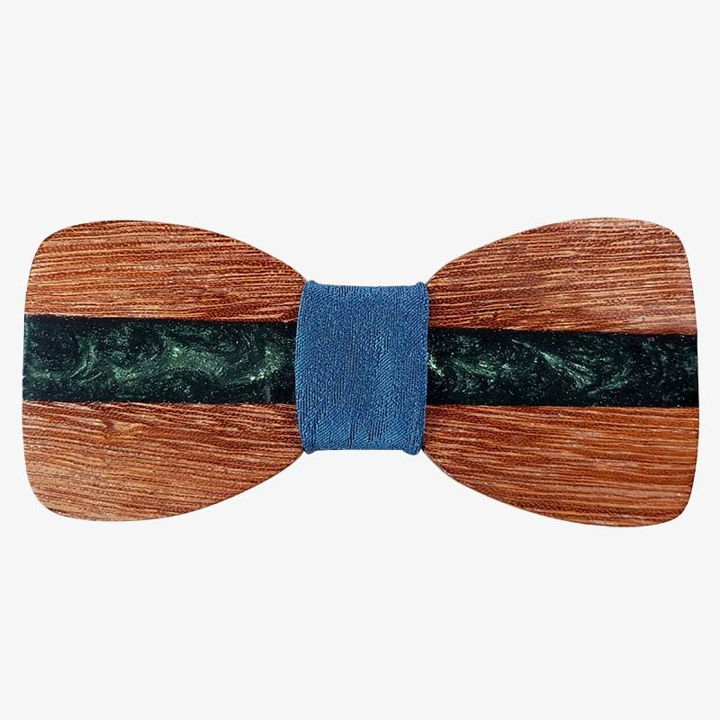 ξύλινο παπιγιόν με ρητίνη πράσινη