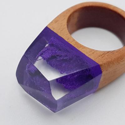 δαχτυλίδι από υγρό γυαλί μοβ