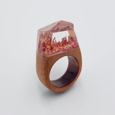 δαχτυλίδι ρητίνης ροζ και κίτρινο