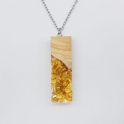 κολιέ ρητίνης ίσιο με φύλλα χρυσού και ξύλο ελιάς μεγάλο