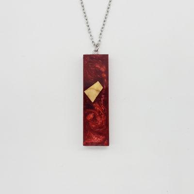 Κολιέ ρητίνης ίσιο κόκκινο με ξύλο ελιάς μικρό