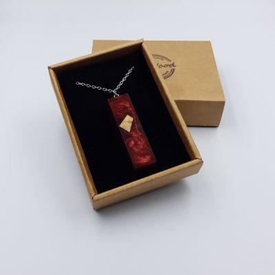 Κολιέ από υγρό γυαλί ίσιο κόκκινο με ξύλο ελιάς μικρό