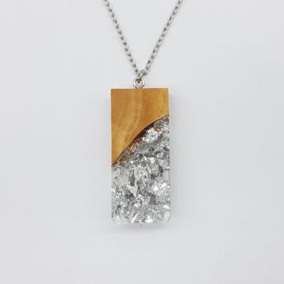 κολιέ ρητίνης ορθογώνιο με φύλλα ασήμι και ξύλο ελιάς μεγάλο