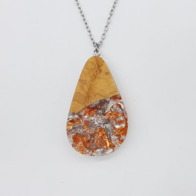 Resin necklace,  drop design with precious copper silver leaf and olive wood large