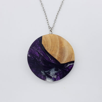 Resin necklace, round design in white purple black color with olive wood large