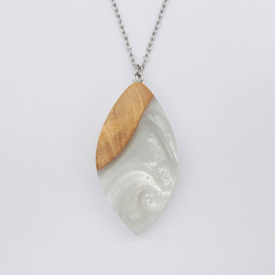 Resin necklace, leaf design in white color with olive wood large