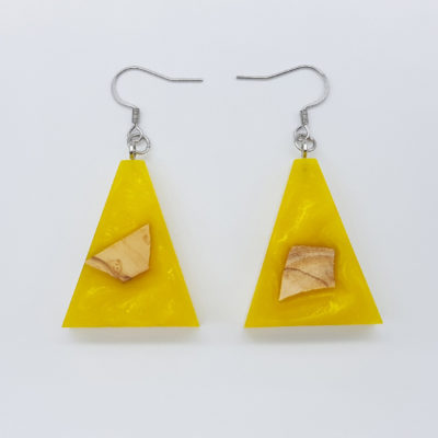 Resin earrings, inverted triangles in yellow color with olive wood
