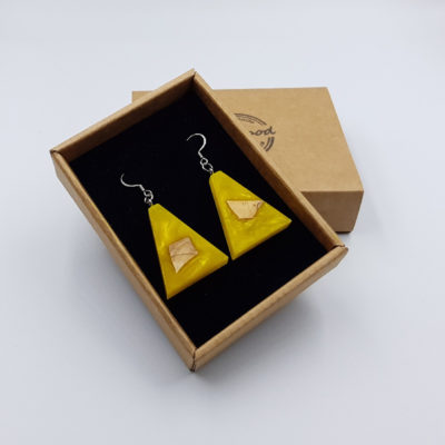 Resin earrings, inverted triangles in yellow color with wood