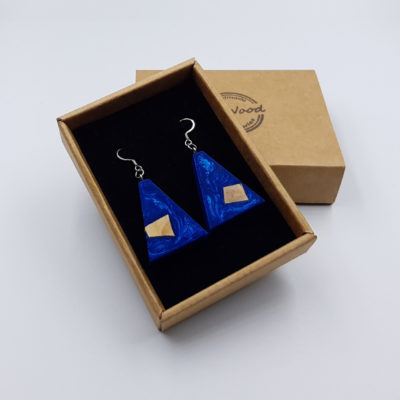 Resin earrings, inverted triangles in blue color with  wood