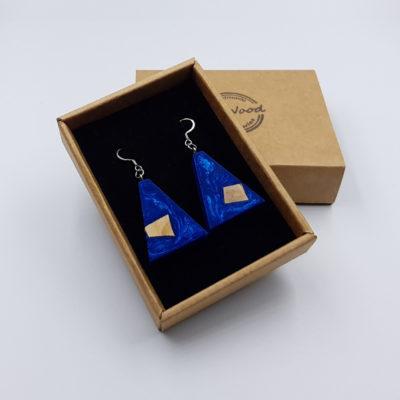 Σκουλαρίκια από υγρό γυαλί μπλε ανάποδο τρίγωνα με ξύλο ελιάς