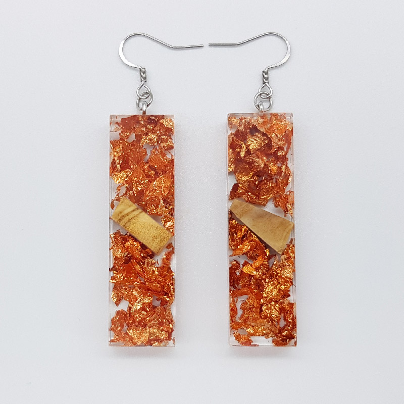 Resin earrings, straight with precious copper leaf and olive wood