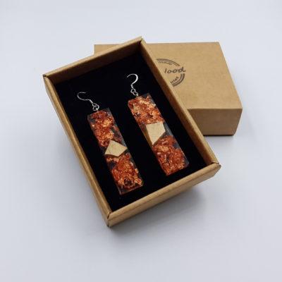 σκουλαρίκια από υγρό γυαλί ίσια με φύλλα χαλκού και ξύλο ελιάς