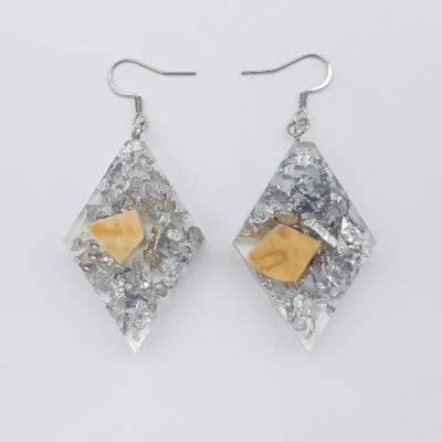 Resin earrings, rhombus with precious silver leaf and olive wood