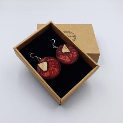 Σκουλαρίκια από υγρό γυαλί κόκκινα στρογγυλά με ξύλο ελιάς