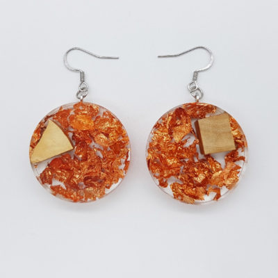 Resin earrings, rounds with precious copper leaf and olive wood
