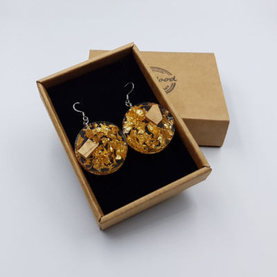 Resin earrings, rounds with  gold leaf and olive wood