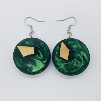 Σκουλαρίκια ρητίνης πράσινα στρογγυλά με ξύλο ελιάς