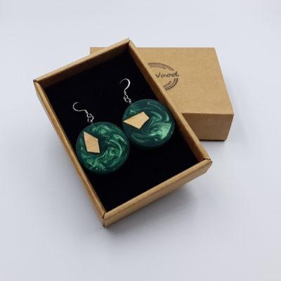 Σκουλαρίκια από υγρό γυαλί πράσινα στρογγυλά με ξύλο ελιάς