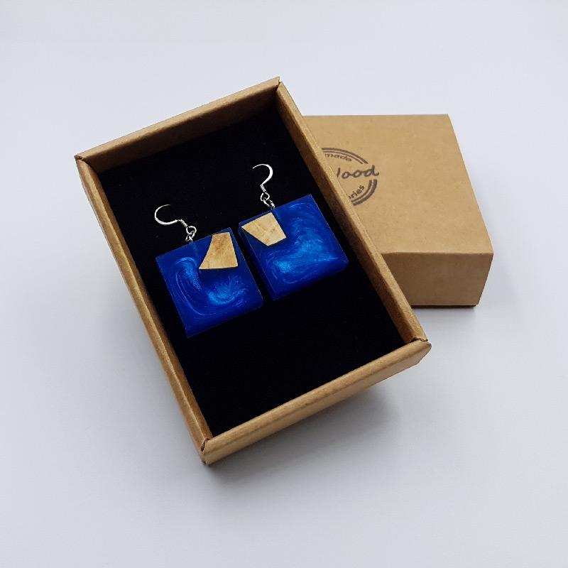 Σκουλαρίκια από υγρό γυαλί μπλε τετράγωνα με ξύλο ελιάς