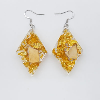 Resin earrings, rhombus with precious gold leaf and olive wood