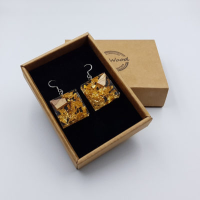 Resin earrings, squares with gold leaf and olive wood