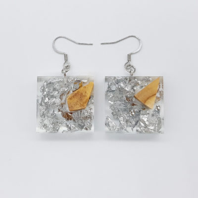 Resin earrings, squares with precious silver leaf and olive wood