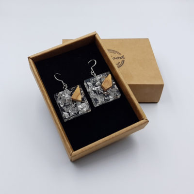 Resin earrings, squares with  silver leaf and olive wood
