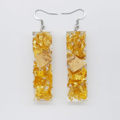 Resin earrings, straight with precious gold leaf and olive wood