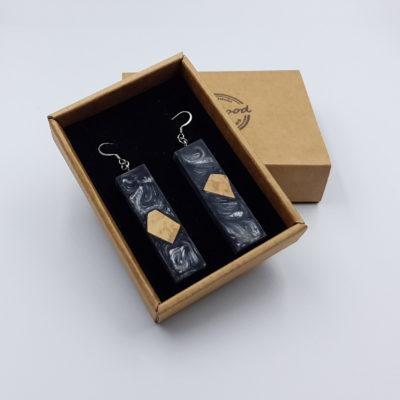 Σκουλαρίκια από υγρό γυαλί γκρι ίσια με ξύλο ελιάς