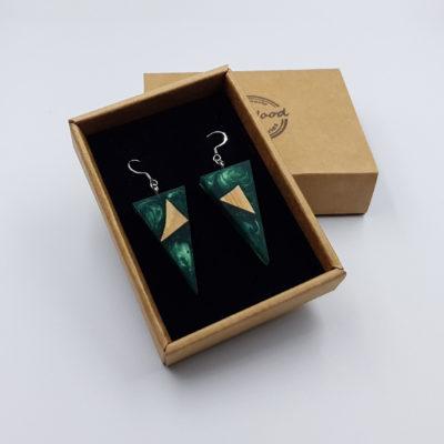 Σκουλαρίκια από υγρό γυαλί πράσινα τρίγωνα με ξύλο ελιάς