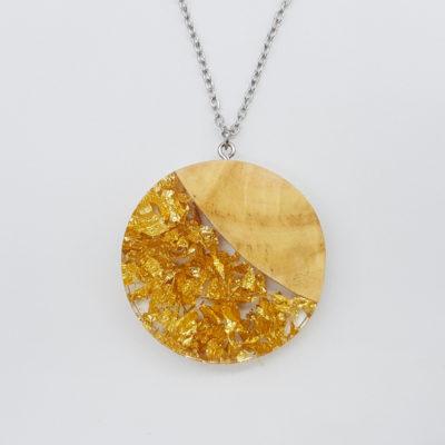Κολιέ ρητίνης στρογγυλό με φύλλα χρυσού και ξύλο ελιάς μεγάλο