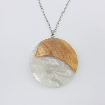 Resin necklace, large round design in white color with olive wood large