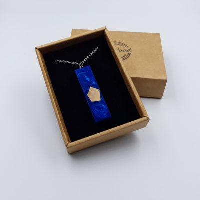 κολιέ από υγρό γυαλί ίσιο μπλε και ξύλο ελιάς μικρό