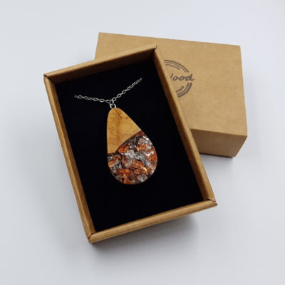 Resin pendant  drop design with precious copper silver leaf and olive wood large