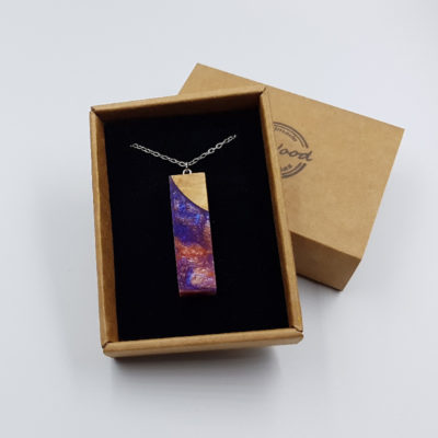 Resin pendant, large straight design in pink purple color with olive wood