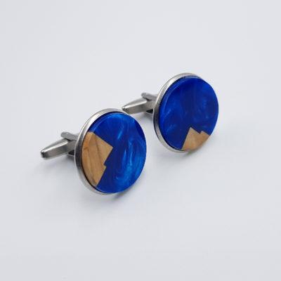 Μανικετόκουμπα ρητίνης μπλε με ξύλο ελιάς