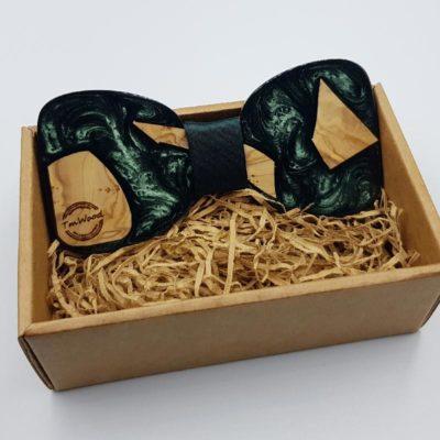 Παπιγιόν από υγρό γυαλί σκούρο πράσινο με ξύλο ελιάς