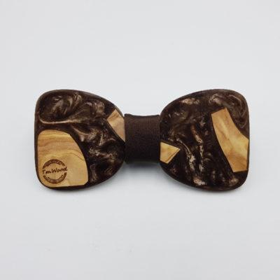 Παπιγιόν ρητίνης ανοιχτό καφέ με ξύλο ελιάς