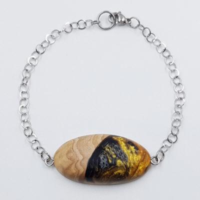 Βραχιόλι ρητίνης μαύρο χρυσό με ξύλο ελιάς