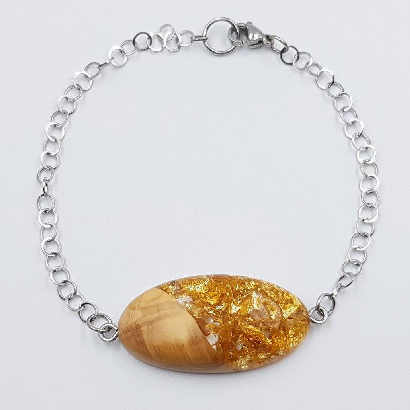 Βραχιόλι ρητίνης με φύλλα χρυσού και ξύλο ελιάς