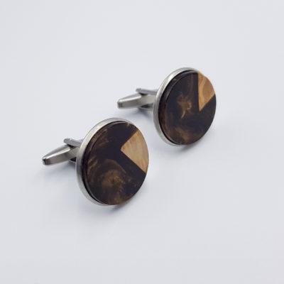 Μανικετόκουμπα ρητίνης καφέ με ξύλο ελιάς