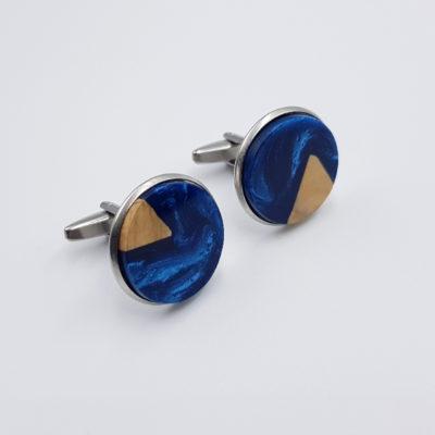 Μανικετόκουμπα ρητίνης μπλε σκούρο με ξύλο ελιάς