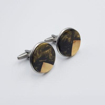 Μανικετόκουμπα ρητίνης χρυσό σκούρο με ξύλο ελιάς