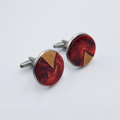 Μανικετόκουμπα ρητίνης κόκκινα με ξύλο ελιάς