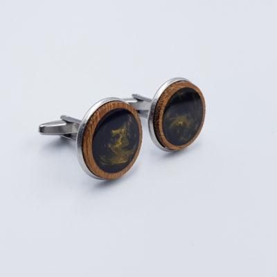 Μανικετόκουμπα ρητίνης σκούρο χρυσό με ξύλο ελιάς
