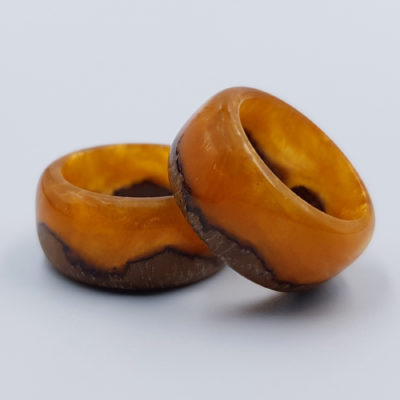 δαχτυλίδι από υγρό γυαλί πορτοκαλί
