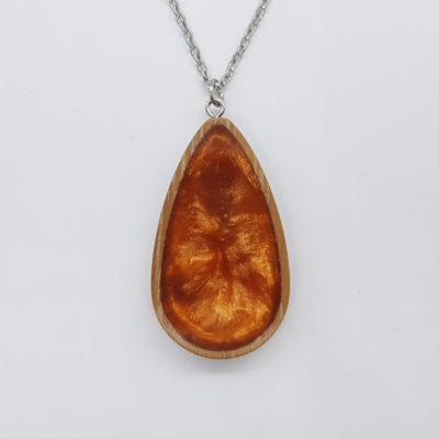 κολιέ ρητίνης σταγόνα πορτοκαλί και ξύλινο πλαίσο μικρό