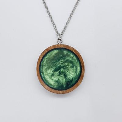 κολιέ ρητίνης στρογγυλό πράσινο και ξύλινο πλαίσο μικρό
